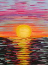 Sunset, Ocean, Seascape,<br>Abstract, Contemporary,<br>Impressionistic, Paintings, Abstract, Seascape, Acrylic, By melanie lutes