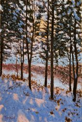 Sunset on the Snow, Paintings, Fine Art,Impressionism,Realism, Landscape,Nature, Canvas,Oil, By Dejan Trajkovic