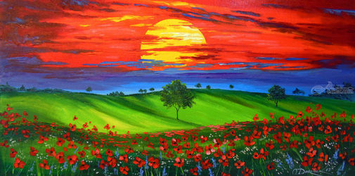 Sunset over poppy field, Paintings, Expressionism,Fine Art,Impressionism, Botanical,Landscape,Nudes,Tropical, Canvas,Oil,Painting, By Olha   Darchuk