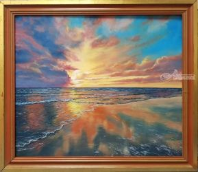 sunset reflection, Paintings, Realism, Landscape, Oil, By Cornel Moldovan