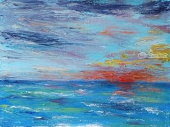 Sunset at Sea, Paintings, Impressionism, Seascape, Oil, By Bernard Victor