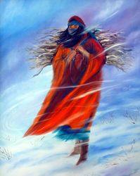 Surviving Another Day Strong<br>Native American Woman, Paintings, Expressionism, Figurative, Oil, By Jackie Carpenter