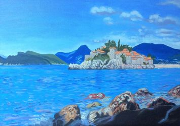 Sveti Stefan(acrylic on<br>canvas), Paintings, Fine Art, Landscape, Acrylic, By Victoria Trok