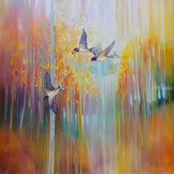 Swallow Song - autumn<br>landscape original oil<br>painting, Paintings, Fine Art, Landscape, Oil, By Gill Bustamante