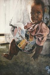 Swing, Paintings, Realism, Children, Watercolor, By James Cassel