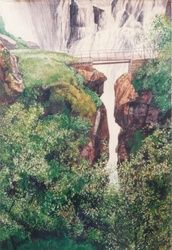 Swiss falls, Paintings, Realism, Landscape, Watercolor, By James Cassel