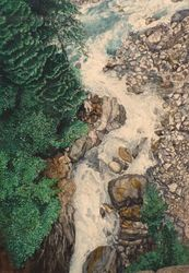 Swiss river, Drawings / Sketch,Paintings, Fine Art,Realism, Landscape,Nature, Painting,Watercolor, By James Cassel