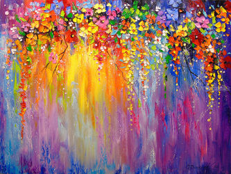 Symphony of flowers, Paintings, Abstract,Expressionism,Fine Art,Impressionism, Botanical,Fantasy,Floral, Canvas,Oil,Painting, By Olha   Darchuk