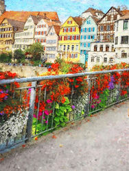 Tübingen-Germany, Paintings, Impressionism, Window on the World, Oil,Painting, By Angelo