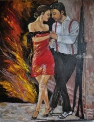 Tango #2 The dance of love, Paintings, Fine Art, Dance, Oil, By Terry Sita