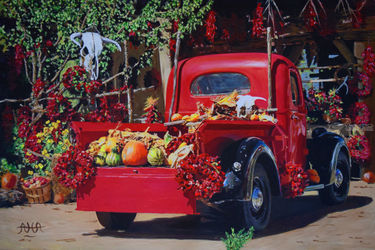 Taos Fruit and Pepper Stand, Paintings, Impressionism,Realism, Botanical,Cityscape,Landscape, Acrylic, By Adrian Arvin