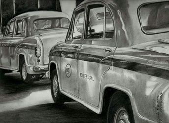 Taxi's of Kolkata, Drawings / Sketch, Realism, Multicultural / Ethnic, Pencil, By Jayanta Barman