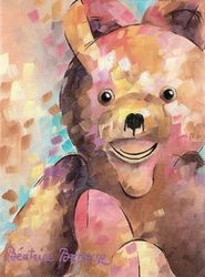 Teddy bear, Paintings, Expressionism,Fine Art,Impressionism, Animals,Children,Portrait, Canvas,Oil, By Beatrice BEDEUR
