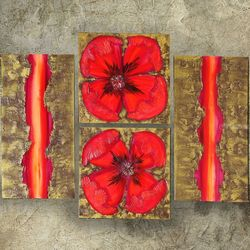 textured gold hot red poppies<br>paintings A049, Paintings, Abstract,Expressionism,Fine Art,Minimalism,Modernism, Botanical,Conceptual,Decorative,Floral,Nature, Acrylic,Canvas,Painting, By Ksavera Art
