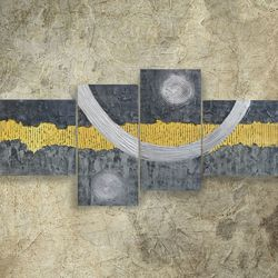 textured gray yellow silver<br>paintings A074 190x90x4 cm <br>decor original abstract art<br>big ready to hang painting<br>acrylic on stretched canvas<br>metallic textured glossy wall<br>art by artist Ksavera, Paintings, Abstract,Commercial Design,Expressionism,Minimalism, Avant-Garde,Composition,Decorative,Spiritual, Acrylic,Canvas,Mixed,Painting,Spray Paint, By Ksavera Art