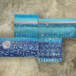 textured silver blue paintings<br>A073, Decorative Arts,Multipanel Art,Paintings, Abstract,Expressionism,Minimalism,Modernism, Composition,Decorative,Landscape, Acrylic,Canvas,Mixed, By Ksavera Art