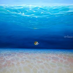 The Adventurer Under the Sea, Paintings, Expressionism,Fine Art,Modernism,Realism, Animals,Composition,Landscape,Seascape,Spiritual, Oil, By Gill Bustamante