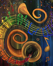The ART of Music, Decorative Arts,Paintings, Fine Art,Surrealism, Conceptual, Acrylic, By adam santana