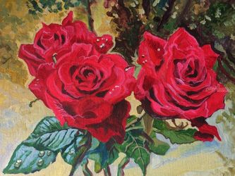 The Autumn Roses(acrylic on<br>canvas), Paintings, Fine Art, Still Life, Acrylic, By Victoria Trok