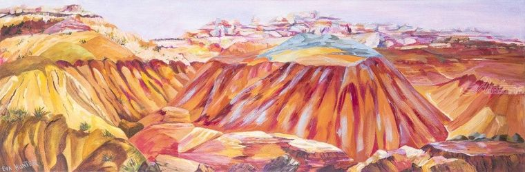 The Badlands, Paintings, Fine Art, Landscape, Acrylic, By Eva Hunter