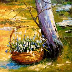 The basket with snowdrops, Paintings, Expressionism,Impressionism, Botanical,Landscape,Nature, Canvas,Oil,Painting, By Olha   Darchuk