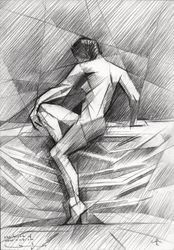 The birth of new cubism -<br>01-05-14, Assemblage,Drawings / Sketch, Abstract,Cubism,Fine Art,Surrealism, Anatomy,Composition,Erotic,Figurative,Inspirational,Nudes,People, Pencil, By Corne Akkers