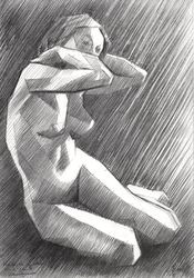 The Birth of New Cubism 2 -<br>02-05-14, Drawings / Sketch, Abstract,Fine Art,Impressionism,Realism,Surrealism, Anatomy,Composition,Erotic,Figurative,Inspirational,Nudes,People, Pencil, By Corne Akkers
