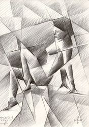 The birth of new cubism 2 -<br>28-10-14, Drawings / Sketch, Abstract,Cubism,Fine Art,Impressionism,Realism,Surrealism, Anatomy,Composition,Erotic,Figurative,Inspirational,Nudes,People, Pencil, By Corne Akkers