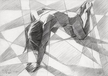The birth of new cubism -<br>23-07-14, Drawings / Sketch, Abstract,Cubism,Fine Art,Impressionism,Realism, Anatomy,Composition,Erotic,Figurative,Inspirational,Nudes,People, Pencil, By Corne Akkers