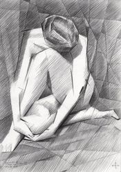 The birth of new cubism -<br>27-07-14, Drawings / Sketch, Abstract,Cubism,Impressionism,Realism, Anatomy,Composition,Erotic,Figurative,Inspirational,Nudes,People, Pencil, By Corne Akkers