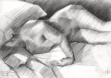 The birth of new cubism -<br>29-04-14, Drawings / Sketch, Cubism,Fine Art,Impressionism,Realism, Anatomy,Composition,Erotic,Figurative,Inspirational,Nudes,People, Pencil, By Corne Akkers