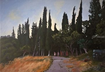 The Black Cypresses(acrylic on<br>canvas), Paintings, Fine Art, Landscape, Acrylic, By Victoria Trok