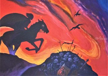 The Black Horseman, Paintings, Expressionism, Fantasy, Acrylic, By Victoria Trok