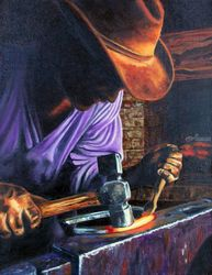 The Blacksmith, Paintings, Fine Art,Realism, Daily Life,Figurative,People,Portrait, Canvas, By Rick Seguso