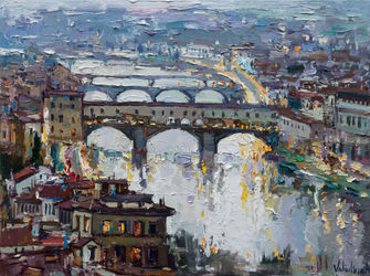 The bridges of Florence -<br>Italy Landscape painting, Paintings, Impressionism, Architecture,Cityscape,Landscape, Oil,Painting, By Anastasiya Valiulina