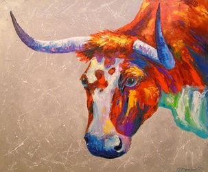 The bull, Paintings, Impressionism, Animals, Canvas,Oil,Painting, By Olha   Darchuk