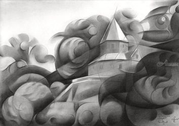 The Carolingian Chapel –<br>30-06-18, Drawings / Sketch, Cubism,Fine Art,Impressionism,Surrealism, Cityscape,Composition,Decorative,Figurative,Inspirational,Landscape, Pencil, By Corne Akkers