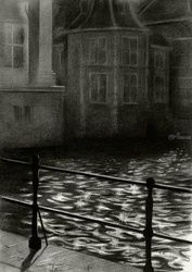 The Court's pond (De<br>Hofvijver) - 26-11-15, Drawings / Sketch, Abstract,Cubism,Fine Art,Impressionism,Realism,Surrealism, Architecture,Cityscape,Composition,Figurative,Inspirational,Landscape,Nature, Pencil, By Corne Akkers