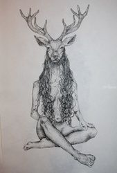 The Deer Woman, Decorative Arts,Drawings / Sketch,Folk Art,Illustration,Tattoo, Commercial Design,Fine Art,Realism,Romanticism,Surrealism,Symbolism, Anatomy,Animals,Composition,Conceptual,Decorative,Environmental art,Erotic,Fantasy,Grotesque,Spiritual,Wildlife, Ink, By Misia Slemp