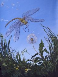 The  Dragonfly(acrylic on<br>cardboard), Paintings, Fine Art, Fantasy, Acrylic, By Victoria Trok