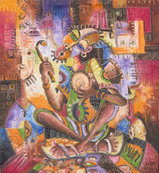 The Drummer. Giclée Print<br>from Cameroon, Africa, Paintings, Fine Art,Surrealism, Multicultural / Ethnic,Music,The Primative, Oil, By Angu Walters Che