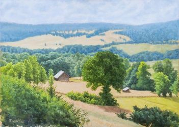 The Farm, Paintings, Fine Art,Photorealism,Realism, Landscape,Nature, Oil,Wood, By Dejan Trajkovic
