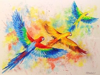The flight of parrots, Illustration,Paintings, Impressionism, Animals,Botanical,Nature, Canvas,Oil,Painting, By Olha   Darchuk