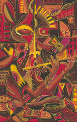 The Flutist. Original painting<br>from Cameroon, Africa, Paintings, Fine Art,Surrealism, Music,People, Oil, By Angu Walters Che