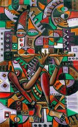 The Flutist. Original painting<br>from Cameroon, Africa, Paintings, Abstract,Cubism, Music, Oil, By Angu Walters Che