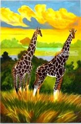 The Graceful Giraffe couple, Paintings, Realism, Animals,Nature,Wildlife, Acrylic, By OLIVER MACHADO