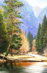 The Grandeur of Yosemite, Paintings, Impressionism, Landscape, Canvas,Oil, By Mason Kang
