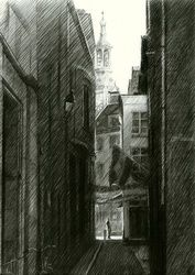 The Hague (Halstraat) -<br>12-03-15, Drawings / Sketch, Fine Art,Impressionism,Realism, Cityscape,Composition,Figurative,Inspirational,Landscape, Pencil, By Corne Akkers