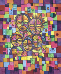 The Happy Family. Original<br>painting from Cameroon,<br>Africa., Paintings, Abstract,Cubism,Fine Art, People, Acrylic, By Angu Walters Che