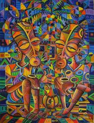 The Happy Villagers IV.<br>Original painting from<br>Cameroon, Africa, Paintings, Abstract,Cubism,Fine Art, Daily Life,People,Tropical, Acrylic, By Angu Walters Che